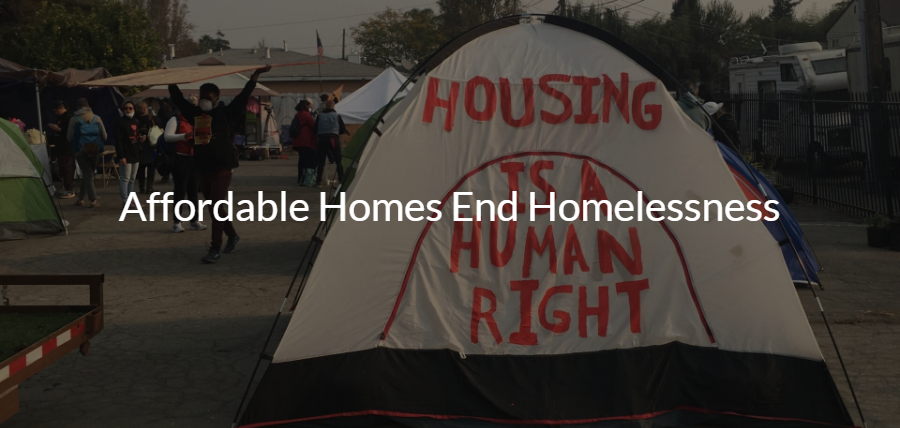 Image of a tent with the words Affordable Homes End Homelessness in white text over it.